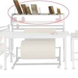 Ablagekonsole für Tischbreite 2000 mm, BxTxH 1625x500x420 mm, mit Bügel
