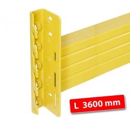 Tragbalken für Palettenregale, Stecksystem, Länge 3600 mm, Profilhöhe 140 mm, inklusive Sicherungsclips