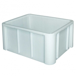 Lebensmittel-Großbehälter, LxBxH 800x600x420 mm,, weiß, Boden u. Wände geschlossen, verrippter Boden