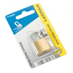 Vorhängeschloß Messing, Bügel, 3 Schlüssel, Breite 20 mm, gehärteter Bügel Ø 3,3 mm