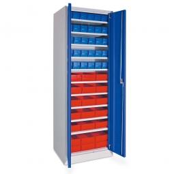 Schrank mit Regalkästen blau, LxBxH 400 x 91 x 81 mm + rot, LxBxH 400 x 183 x 81 mm, Türen in enzianblau RAL 5010