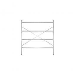 Aluminiumregal mit 4 geschlossenen Regalböden, Stecksystem, BxTxH 1500 x 500 x 1600 mm, Nutztiefe 440 mm