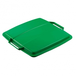 Deckel für Abfall- und Wertstoffbehälter 90 Liter, mit Griffen für leichtes Abnehmen, eckig, grün