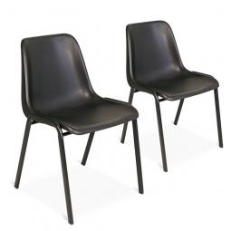 2x Formschalenstühle-Set, Oval-Stahlrohr-Gestell  15 x 30 mm, schwarz