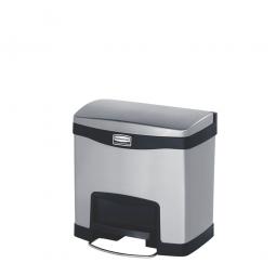 Tretabfalleimer SlimJim, 15 Liter, Edelstahl, schwarz, LxBxH 396x303x400 mm, Pedal an der Breitseite