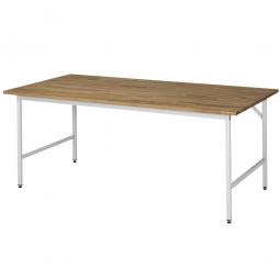 Arbeitstisch mit Massivbuche-Tischplatte, BxTxH 2000x800x800-850 mm, Gestell lichtgrau RAL 7035