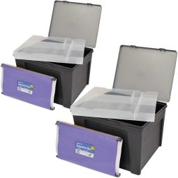 Ordner-/Hängemappenbox, Inhalt 30 l, (VE=2 Stück), LxBxH 435 x 400 x 345 mm, Behälter anthrazit, Deckel silber