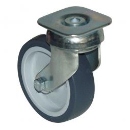 Lenkrolle Stahl verzinkt mit grauem Gummi-Rad,, Rad ØxB 100x30 mm, Tragkraft: 100 kg