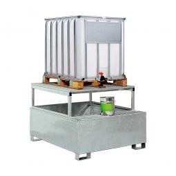 Auffangwannne für Tankcontainer, feuerverzinkt, BxTxH 1460x1460x1083 mm, Unterfahrhöhe 100 mm