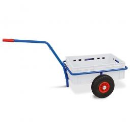 Handwagen mit E2 Kunststoffkasten, H 200 mm, weiß, LxBxH 1250 x 640 x 660 mm, Tragkraft 200 kg