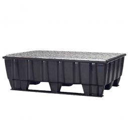 Sicherheits-Auffangwanne aus schwarzem Kunststoff, LxBxH 1220 x 820 x 390 mm, mit 2 Kufen