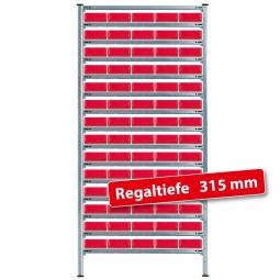 Steckregal, verzinkt, HxBxT 2000x1070x315 mm,15  Ebenen, 70 Regalkästen LxBxH 300x183x81 mm, rot