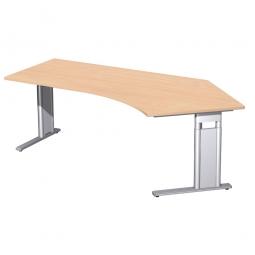 Schreibtisch PREMIUM höhenverstellbar, 135° rechts, Buche/Silber, BxTxH 2166x800/1130x680-820 mm