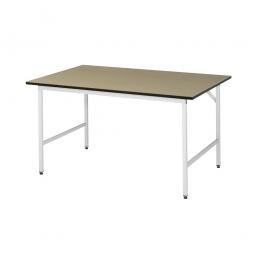Arbeitstisch mit MDF-Tischplatte, BxTxH 1250x1000x800-850 mm, Gestell lichtgrau RAL 7035