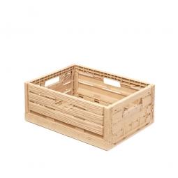 Klappbox im Holzdekor, geschlitzt, PP, LxBxH 400 x 300 x 165 mm, 15 Liter, beige