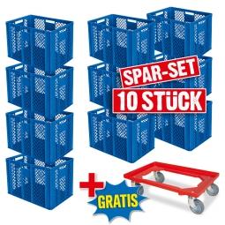 10x Euro-Stapelbehälter + 1 Transportroller GRATIS, Farbe blau, LxBxH 600 x 400 x 410 mm