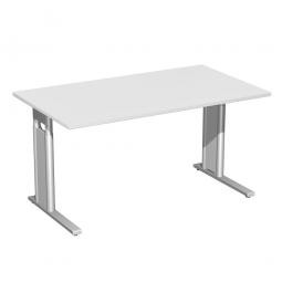 Schreibtisch PREMIUM höhenverstellbar, Lichtgrau/Silber, BxTxH 1800x800x680-820 mm
