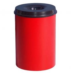 Sicherheits-Papierkorb, Inhalt 15 Liter, rot, HxØ 360x255 mm, Stahlblech, Einwurföffnung Ø 110 mm