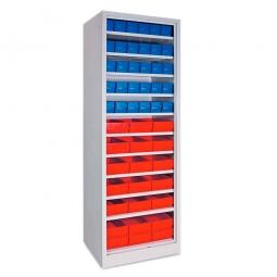 Regal mit Regalkästen blau, LxBxH 400 x 91 x 81 mm + rot, LxBxH 400 x 183 x 81 mm