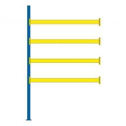 Paletten-Anbauregal für 15 Europaletten, Tragbalkenebenen mit 38 mm Spanplattenböden, Fachlast 2900 kg/Tragbalkenpaar, BxTxH 2785 x 1100 x 4500 mm