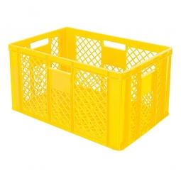 Eurobehälter mit 4 Durchfassgriffen, LxBxH 600 x 400 x 320 mm, 63 Liter, gelb