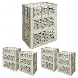 Gläserkästen-Set inkl. Gittereinsätzen, XXL-Set 2, LxB 600 x 400 mm, PE-HD, grau
