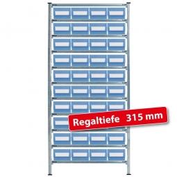 Fachbodensteck-Grundregal, BxTxH 1000 x 315 x 2000 mm, 11 Böden, mit 40 Regalkästen LxBxH 300 x 234 x 140 mm, Farbe hellblau