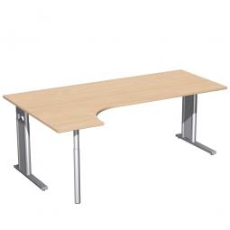 Schreibtisch PREMIUM, Schrankansatz links, Buche/Silber, BxTxH 2000x800/1200x680-820 mm