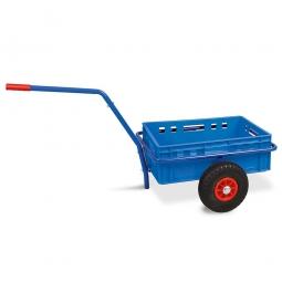 Handwagen mit E2 Kunststoffkasten, H 200 mm, blau, LxBxH 1250 x 640 x 660 mm, Tragkraft 200 kg