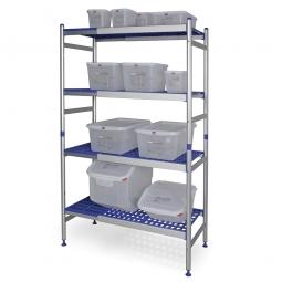 Aluminiumregal für den Hygienebereich, Stecksystem, BxTxH 890-1350 x 475 x 1675 mm