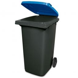 240 Liter MGB, Müllbehälter in anthrazit mit blauem Deckel