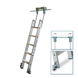 Aluminium-Stufenregalleiter, fahrbar, mit 5 Stufen, Senkrechte Einhängehöhe von 1430 bis 1660 mm
