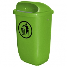 Abfallbehälter nach DIN 30713, 50 Liter, maigrün, BxTxH 430x330x745 mm, Polyethylen-Kunststoff (PE-HD)