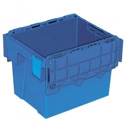 Mehrwegbehälter mit anscharnierten Deckeln, ALC43305, blau, LxBxH 400x300x305 mm