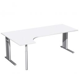 Schreibtisch PREMIUM, Schrankansatz links, Weiß/Silber, BxTxH 2000x800/1200x680-820 mm