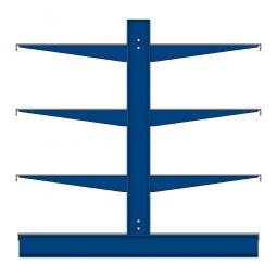 Kragarmregal mit Fachböden, doppelseitige Nutzung, BxTxH 4295 x 1300 x 1980 mm, Achsmaß 1060 mm, Gesamt-Tragkraft 7900 kg