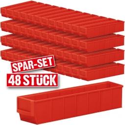 "Regalkasten-Set ""Profi"", 48-teilig, rot, LxBxH 400 x 91 x 81 mm, Polypropylen-Kunststoff (PP)"