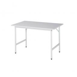 Arbeitstisch mit Melaminharz-Tischplatte, BxTxH 1250x800x800-850 mm, Gestell lichtgrau RAL 7035