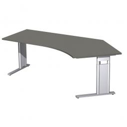 Schreibtisch PREMIUM höhenverstellbar, 135° rechts, Graphit/Silber, BxTxH 2166x800/1130x680-820 mm
