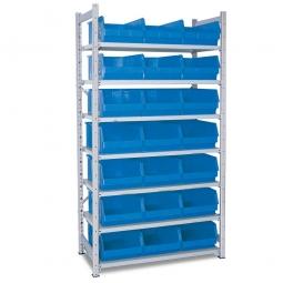 Steckregal, verzinkt, HxBxT 2000 x 1000 x 515 mm, 7 Böden, 21 Sichtboxen LB 2 Farbe blau