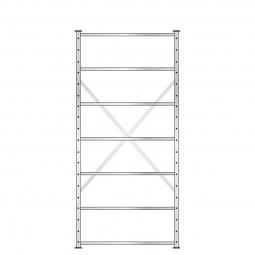 Fachbodenregal mit 7 Böden, Stecksystem, Grundregal, doppelseitige Ausführung, BxTxH 1070 x 630 (2x315) x 2300 mm, Oberfläche glanzverzinkt