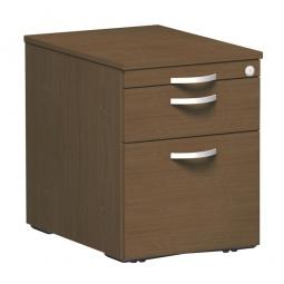 Rollcontainer, 3 Kunststoffschubladen, Nussbaum, BxTxH 438x600x565 mm