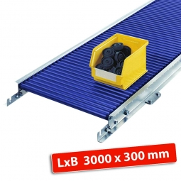 Klein-Rollenbahn, LxB 3000 x 340 mm, Bahnbreite: 300 mm, Achsabstand: 50 mm, Tragrollen Ø 30 x 1,5 mm
