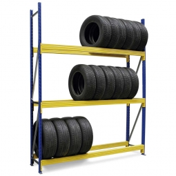 Weitspann-Reifenregal, BxTxH 2380 x 400 x 2500 mm, Fachbreite 2300 mm, Tragkraft je Fach 1100 kg