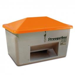 Streugut-Behälter, Volumen 700 L, grau/orange, LxBxH 1340x990x960 mm,glasfaserverstärkter Kunststoff (GFK)