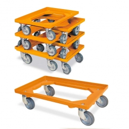 7er-Set Transportroller 600x400 mm, offenes Deck, 4 Lenkrollen, graue Gummiräder, orange