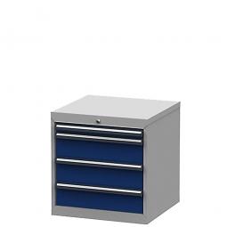 System-Schubladenschrank mit 4 Schubladen, BxTxH 600x575x620 mm, lichtgrau/enzianblau