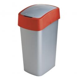 Abfallbehälter mit Schwing- oder Klappdeckel, BxTxH 376 x 294 x 653 mm, Inhalt 50 Liter, silber/rot