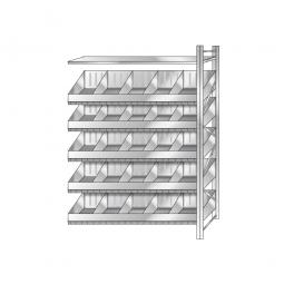 Anbauregal, verzinkt, HxBxT 2500 x 1510 x 525 mm, 5 Ebenen, 20 Schüttfächer, 2 Regalböden