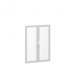 Flügeltür FLEX, 3 Ordnerhöhen, mit Glasausschnitt, Breite 800 mm, mit Metallscharnieren und Türdämpfern